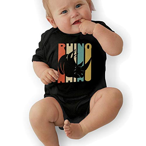 Toddler Baby Girls Retro Style Rhino Silhouette Short Sleeve Romper Jumpsuit, Cute Cotton Bodysuit Outfits Clothes Black]()
