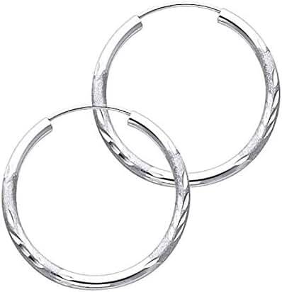 Women's 14k White Gold 2mm Wide Diamond Cut Endless Hoop Earrings (1