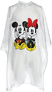 Disney Adult Mickey Minnie Sitting Family Rain Poncho Raincoat Keep Dry Clear