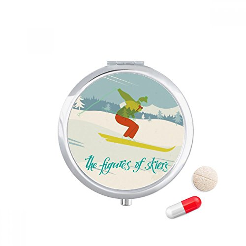 Skis Skiboards (Ski Board Skiing Winter Sport Illustration Travel Pocket Pill case Medicine Drug Storage Box Dispenser Mirror Gift)
