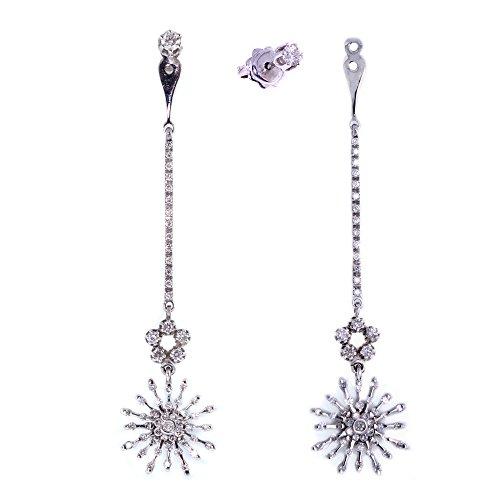 Superstar Boucles d'Oreilles Femme en Or 18 carats Blanc avec Diamant H/VS (total diamants 1.70 ct), 8.4 Grammes