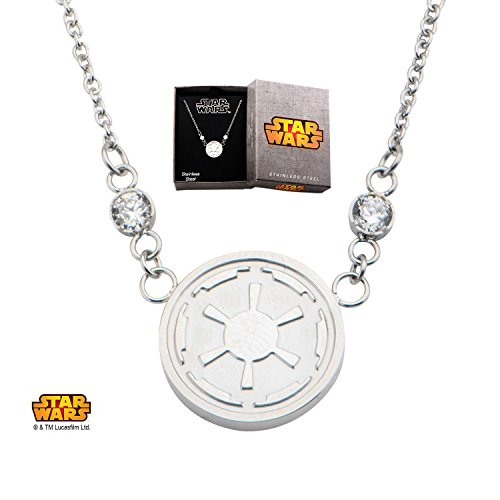 Disney Star Wars Women's Stainless Steel Imperial Symbol Small Pendant Necklace (Star Wars Imperial Necklace compare prices)