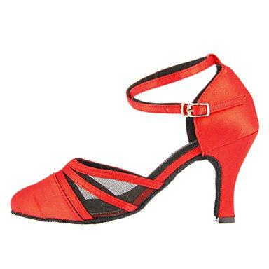 6 Calcanhar 37 Cn 5 7 37 De Xiamuo Vermelho 5 sapatos Moderna Senhoras Combinado Cetim 4 Nós Uk Ue Personalizáveis Dança 5 wR1gPRq0