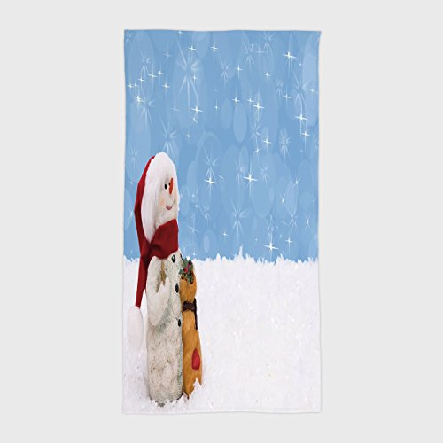 (Cotton Microfiber Hotel SPA Beach Pool Bath Hand Towel,Snowman,Winter Time Theme Cute Snowman with Christmas Hat Scarf and Present Happy Holiday Decorative,Multicolor,for Kids, Teens, and Adults)