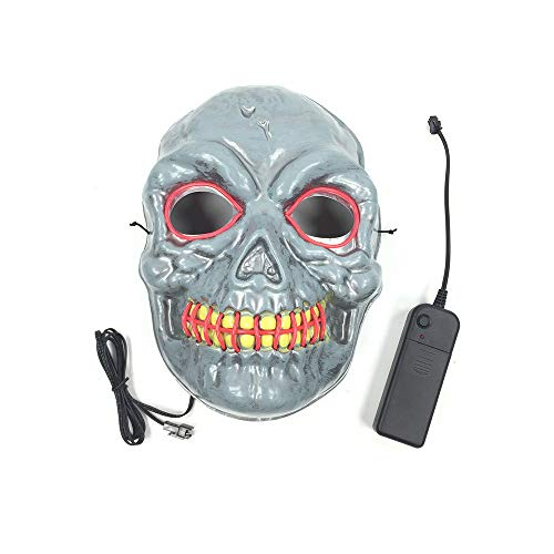 LED Light up Mask Festival Parties Frightening Wire Halloween Sound Induction Flash (pink-18.517.5cm/Power Switch -