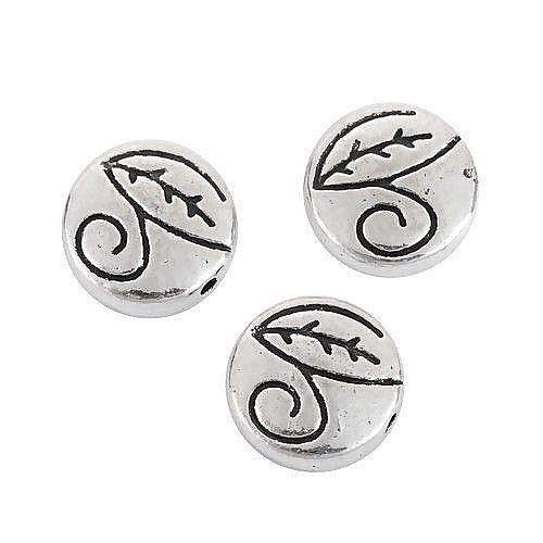 Spacer Round Cast Beads Metal - 10 Antiqued Tibetan Silver 11mm Flat Round Leaf Swirl Coin Spacer Metal Beads