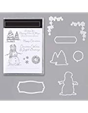 Merry Christmas!Snowflake Snowman and Christmas Tree Metal Cutting Dies and Matched Stamps Sets Seanson Xmas Greetings Phrase Words Clear Rubber Stamps Art Crafts Metal Die-cuts for Card Making DIY S