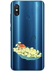 Oihxse Case Transparente Suave TPU Compatible con Motorola Moto G6 Funda [Lindo Caricatura Flor Serie Dibujos] Cristal Protector Carcasa Anti Rasguños Bumper Cover-Paraguas