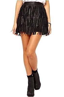 Suvotimo Women Hot Faux Leather PU Bodycon Party Clubwear Tassel Mini Skirt