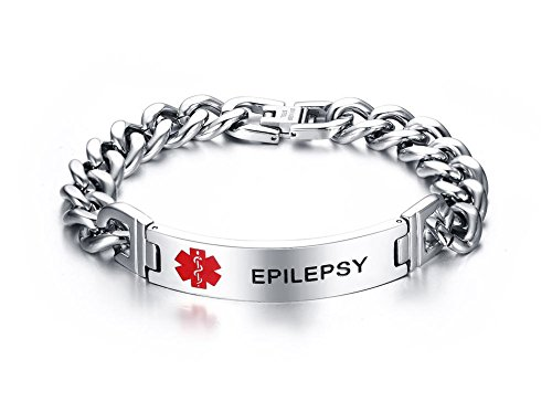 Epilepsy Medical Bracelets - VNOX EPILEPSY Bracelet Stainless Steel Medical Alert ID Bracelet for Unisex 8.3
