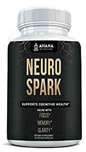 Ahana Nutrition Neuro Spark - Extra Strength Brain Supplement For Focus, Energy, Clarity & Memory - Mental Performance Nootropic With Bacopa Extract, Green Tea Extract & More (Vegan)