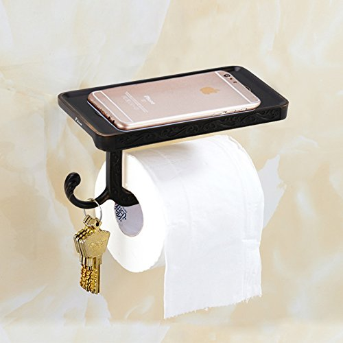 85%OFF Fuloon Wall Mounted Toilet Roll Paper Rack with Phone Shelf Vintage Bronze Embossing Bathroom Paper Holder and Hook (Black)