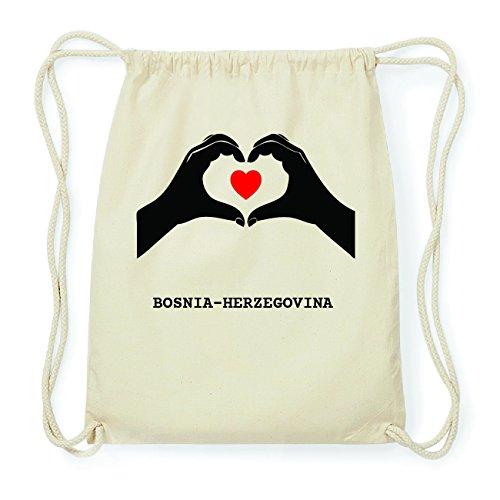 JOllify BOSNIA-HERZEGOVINA Hipster Turnbeutel Tasche Rucksack aus Baumwolle - Farbe: natur Design: Hände Herz