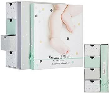 Caja de recuerdos del bebé para niño con cajones y álbum de 120 fotos: Amazon.es: Hogar