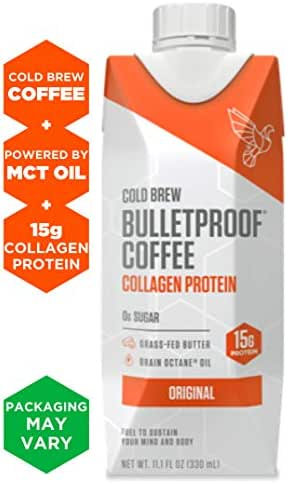 Bulletproof Cold Brew Coffee Plus Collagen, Original Flavor, Keto Friendly, Sugar Free, with Brain Octane oil and Grass-fed Butter (12 Pack)