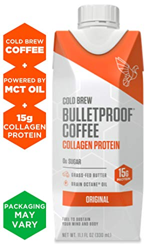 Bulletproof Cold Brew Coffee Plus Collagen, Original Flavor, Keto Friendly, Sugar Free, with Brain Octane oil and Grass-fed Butter (12 ()