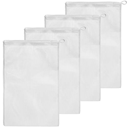 (4 Pack Koi Pond Mesh Media Filter Bags - High Flow 500 Micron - 8 inch by 12 inch Pouch with Drawstrings for Activated Carbon - Reusable Water Garden or Aquarium Charcoal Filter Bag (4 Pack))