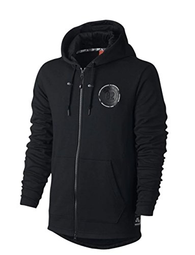 NIKE Air Men's Full Zip French Terry Basketball Hoodie Sweatshirt (XX-Large, Black) (Terry Nike Pullover)