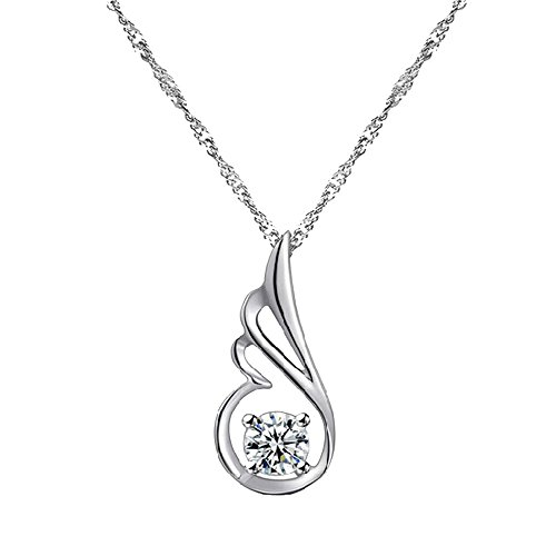 Spoon Costume For Beauty And The Beast (Victoria Echo Sterling Silver Sparkling Diamond Cut Zircon Angel Wing Pendant Necklace White)