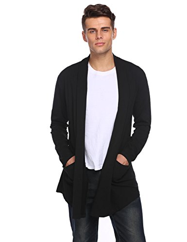 Price comparison product image Vansop Men's Open Front Shawl Collar Draped Solid Cardigans Black L