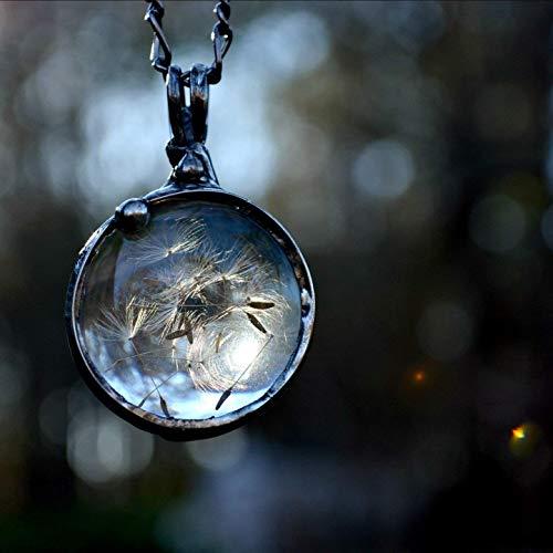 (Handmade Dandelion Necklace Round Glass Pendant Terrarium Wildflower Pendant, Artisan)