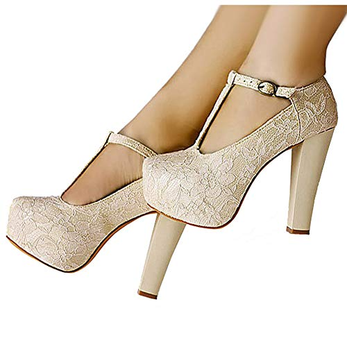 (getmorebeauty Women's Marty Janes T-Strappy Lace Women Dress Wedding Shoes (6.5 B(M) US) Ivory)