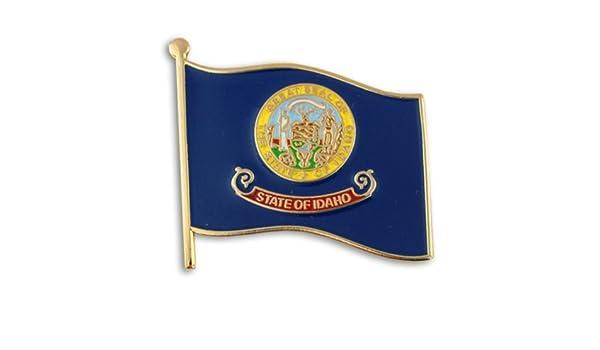 PinMart Idaho and USA Crossed Friendship Flag Enamel Lapel Pin