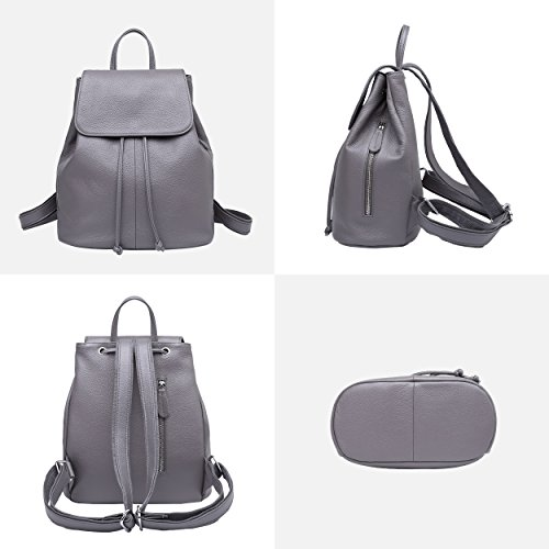 Travel Grey Women Elegant Leather Genuine for Bag Backpack School Ladies Shoulder nTZ6xw4vq