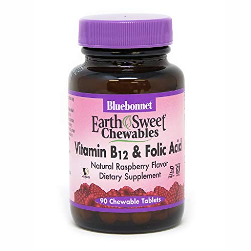 - Bluebonnet Earth Sweet Vitamin B-12 and Folic Acid Chewable Tablets, Raspberry, 90 Count