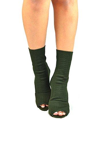 Chase & Chloe Emelia-1 Smal Klack Peep Toe Womens Sock Bootie Oliv