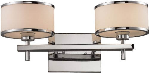 Elk Lighting Chrome Vanity (Elk 11416/2 18 by 8-Inch Utica 2-Light Bathbar with White Blown Glass Shade, Polished Chrome Finish)