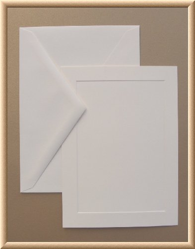 7 Flat Panel (5 x 7 A7 Cream Blank Flat Panel Invitation Paper or Announcment Cards and Envelopes - in 250 Bulk Count-(not a)