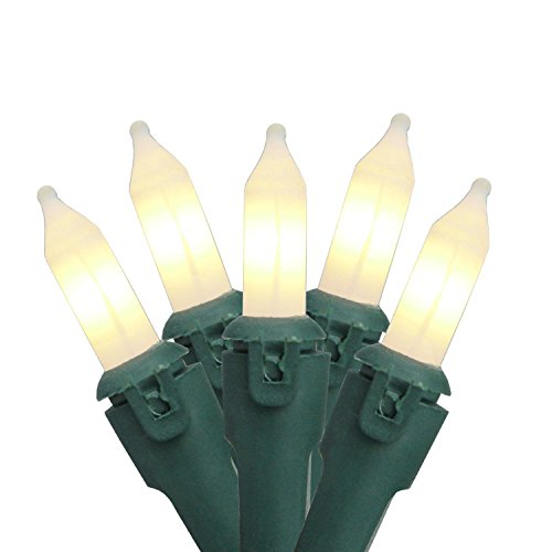 Bethlehem Lighting Set of 100 White Frosted Commercial Grade Mini Christmas Lights - Green ()