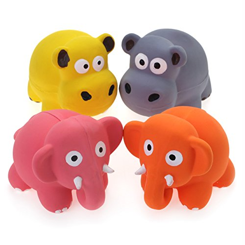 Chiwava 4PCS 3.1'' Squeak Latex Puppy Toy Lovely Elephant Cow Sets Pet Interactive Play for Small Dogs Assorted Color