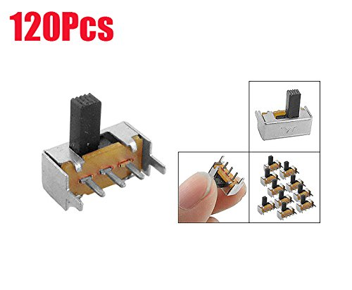 Yohii 120 Pcs On/On 2 Position 1P2T SPDT Mini Horizontal Slide Switch 3 Terminals PCB SK12F14 Panel Mount Vertical