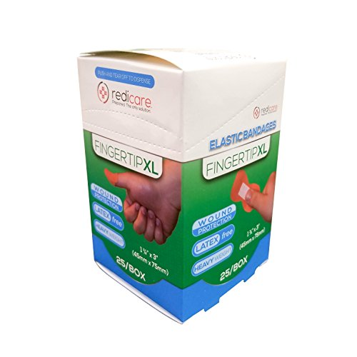 Fingertip XL Elastic Fabric Latex Free Bandages in Dispenser Box for First aid cabinets - 1.75