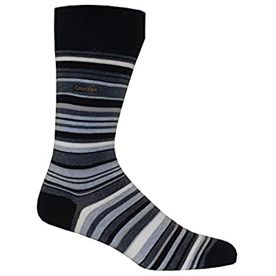 Calvin Klein Cotton Rich Barcode Striped Socks, Navy/Pale Blue