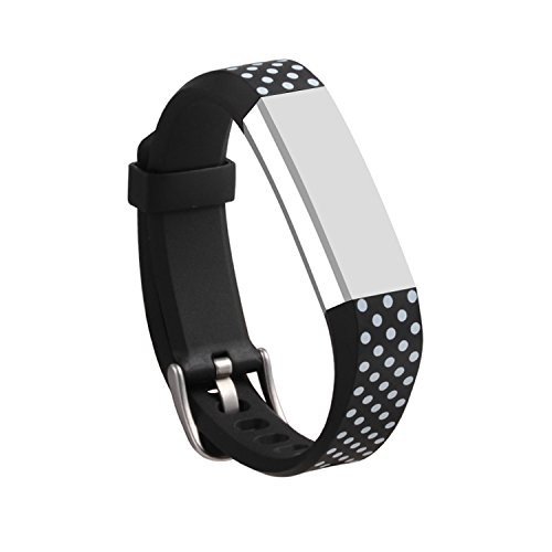 UPC 614134297009, I-SMILE Newest Replacement Wristband With Secure Clasps for Fitbit Alta Only(No tracker, Replacement Bands Only) (Black with White Dots)
