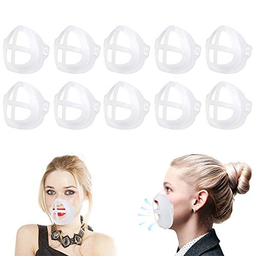 3D Mask Bracket for Comfortable Mask Wearing,LACE INN Reusable 3D Mask Bracket to Create More Breathing Space (Adult 10PCS)