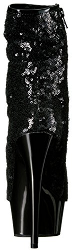 Pleaser DELIGHT-1008SQ Blk Sequins/Dark Pewter Chrome