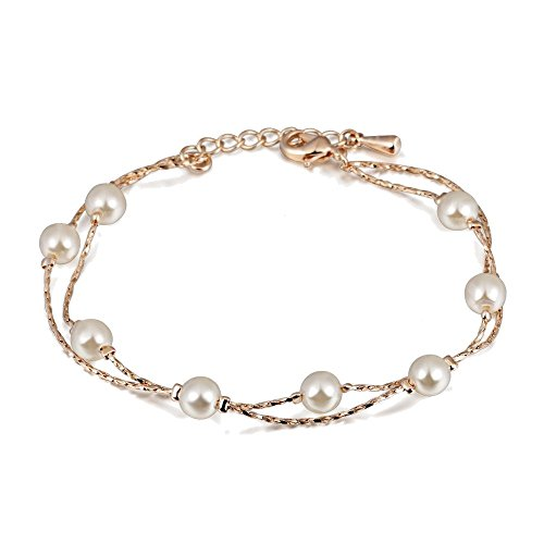Multi Strand Bracelet with Swarovski Crystal Simulated White Pearls 18 ct Gold Plated for Women 8