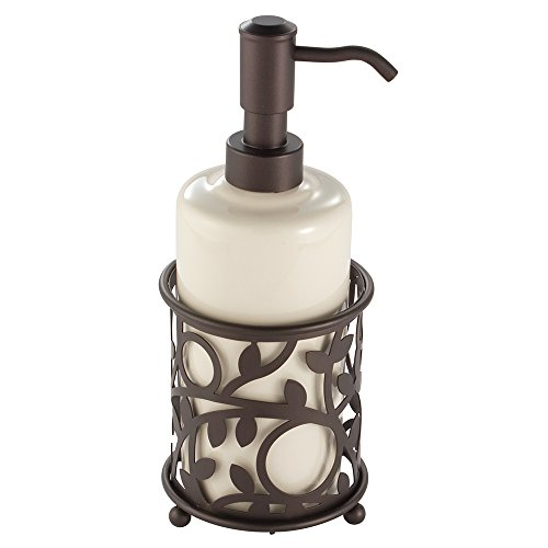 InterDesign Vine Ceramic Liquid Soap and Lotion Dispenser Pump for Kitchen, Bathroom Countertop, Sink, or Vanity, Holds 13 oz, Vanilla Tan and Bronze