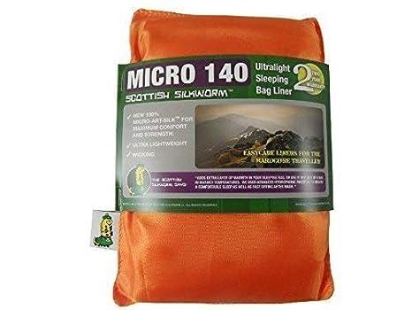 Saco de Dormir Saco de Dormir Térmico Inlett Micro Seda Art Sleeping Bag Liner 140G Naranja Neón Nuevo: Amazon.es: Deportes y aire libre