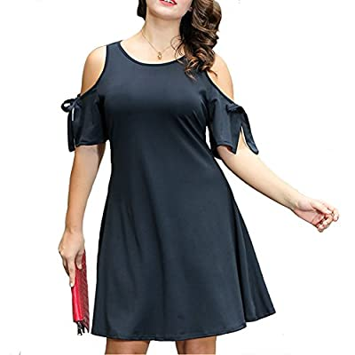 Pyramid Top Women's Plus Size Cut Out Cold Shoulder Casual Jersey Swing Party Dress
