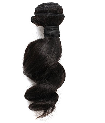 [Rosette Hair 12-22inch Loose Wave Brazilian Virgin Remy Human Hair Weave Weft Unprocessed Natural Black Color Extensions 1 Bundles 95-100g/pc 100% Brazilian Human Hair Extension (1 Bundle] (Indian Costume No Sew)