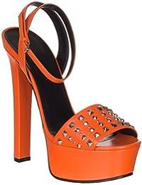 Women's Orange Leather Studded Platform Heels Sandals Shoes