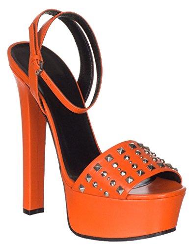 Gucci Women's Orange Leather Studded Platform Heels Sandals Shoes, 7, - Orange Gucci