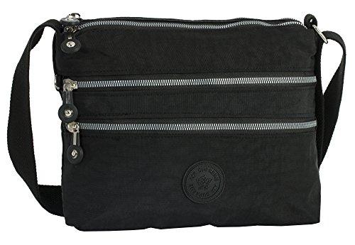 Bandoulière 29x24 Poche Fabric Noir épaule Branché cm Sac Tissu Zippée LxH Léger BHBS Messager wvS0tqw