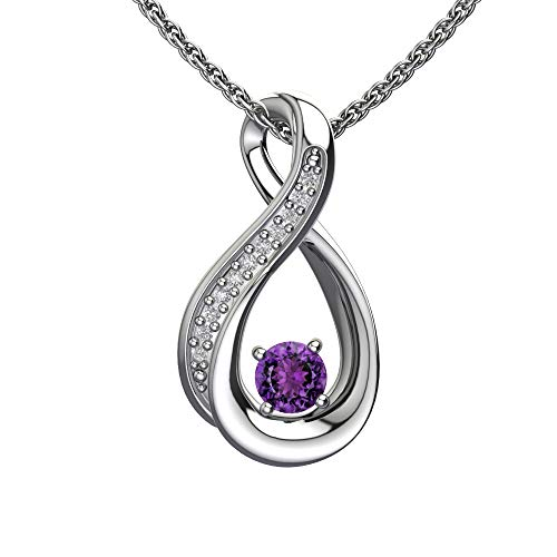 Belinda Jewelz Womens 925 Real Solid Sterling Silver Vertical Infinity Loop Diamond Gemstone Birthstone Cute Chain Fine Jewelry Accessory Hanging Pendant Necklace, 0.25 Carat Amethyst Purple, 18-Inch