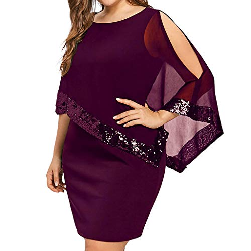 Kiminana Women's Plus Size Dress, Solid Ladder Cut Overlay Asymmetric Chiffon Strapless Mini Dresses for Women Wine